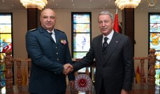 قائد الجيش اللبناني بحث مع وزير الدفاع التركي في وضع المؤسسة العسكرية وسبل دعمها