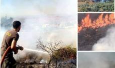الدفاع المدني أخمد حريقا في خراج مشحا العكارية