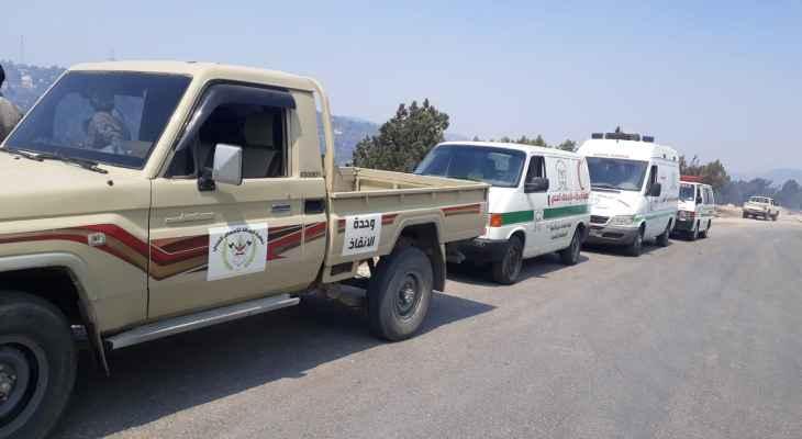 وفد من قيادة حركة امل في البقاع وفرق من جمعية الرسالة للاسعاف الصحي يتابعون الحريق في جرود الهرمل