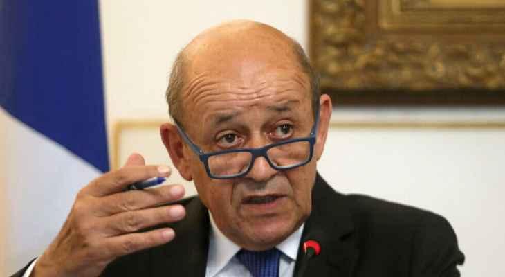 لودريان: يجب ممارسة الضغوط على السياسيين اللبنانيين لإنهاء مأساة بلدهم