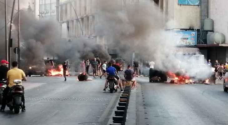 النشرة: محتجون قطعوا الطريق في شارع الرياض الصلح بصيدا