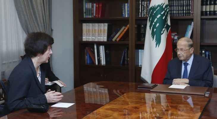 عون: لبنان يرغب بالتمديد لليونيفيل دون تعديل في المهمة ويأمل استئناف مفاوضات ترسيم الحدود البحرية