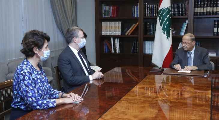 الرئيس عون عرض مع الموفد الفرنسي التطورات المتصلة بالأزمة الحكومية
