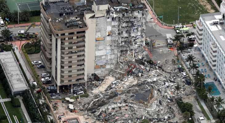 5 قتلى و156 شخصا بعداد المفقودين نتيجة انهيار المبنى في فلوريدا الأميركية