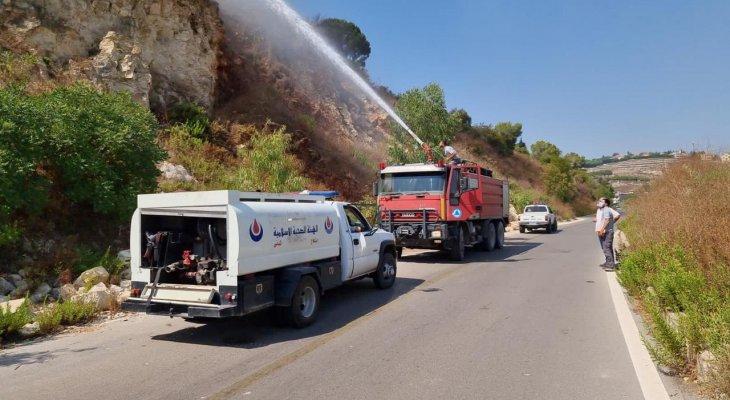 النشرة: حريق في جبل الرويس المشرف على مدينة النبطية