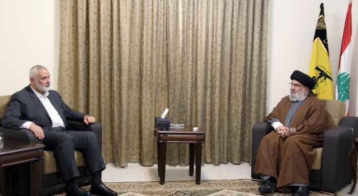 السيد نصرالله التقى هنية وأكدا عمق العلاقة بين حزب الله وحماس وموقعها الأساسي بمحور المقاومة