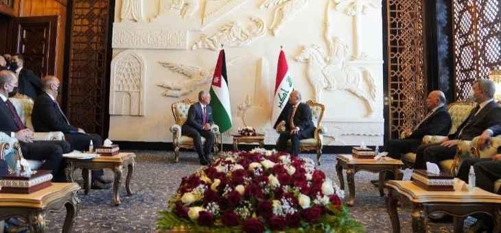 صالح أكد لملك الأردن أهمية تعزيز التعاون الثلاثي بين العراق والأردن ومصر